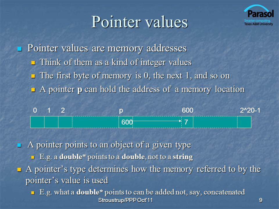 Pointer values Pointer values are memory addresses Pointer values are memory addresses Think of them as a kind of integer values Think of them as a kind of integer values The first byte of memory is 0, the next 1, and so on The first byte of memory is 0, the next 1, and so on A pointer p can hold the address of a memory location A pointer p can hold the address of a memory location 9 0122^20-1 7600 p A pointer points to an object of a given type A pointer points to an object of a given type E.g.