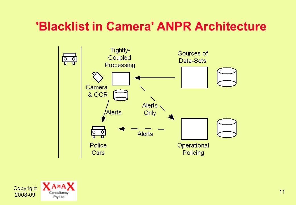 Copyright 2008-09 11 'Blacklist in Camera' ANPR Architecture