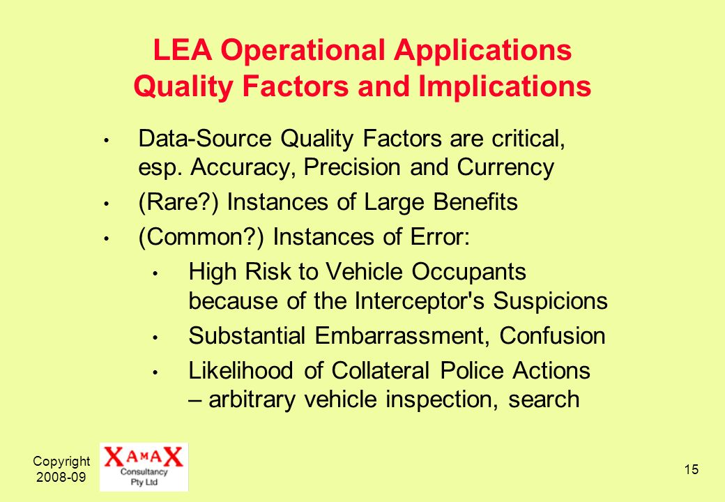 Copyright 2008-09 15 LEA Operational Applications Quality Factors and Implications Data-Source Quality Factors are critical, esp. Accuracy, Precision