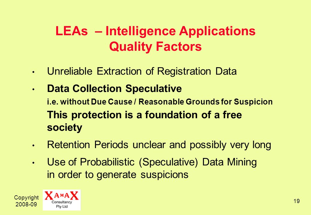 Copyright 2008-09 19 LEAs – Intelligence Applications Quality Factors Unreliable Extraction of Registration Data Data Collection Speculative i.e.