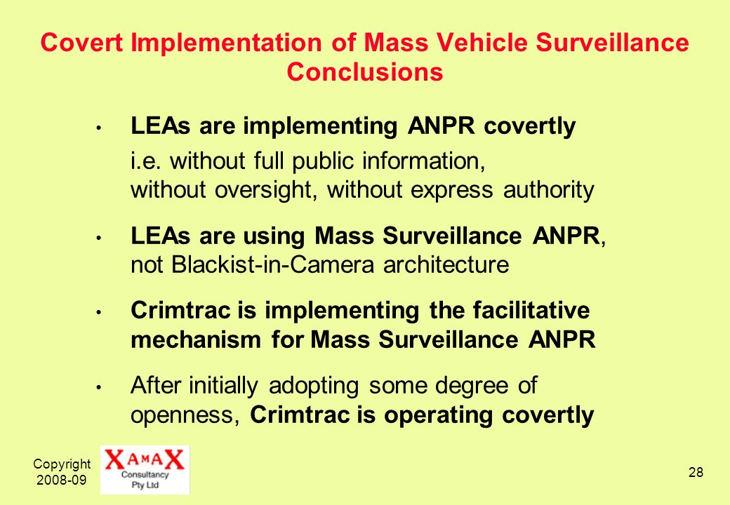 Copyright 2008-09 28 Covert Implementation of Mass Vehicle Surveillance Conclusions LEAs are implementing ANPR covertly i.e.