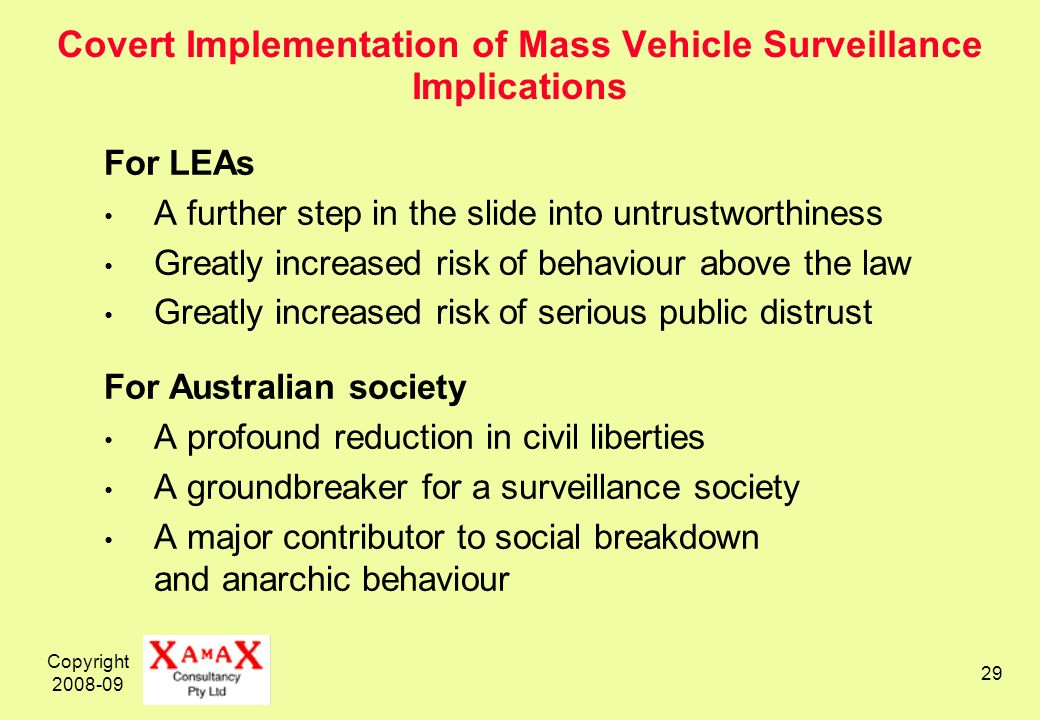 Copyright 2008-09 29 Covert Implementation of Mass Vehicle Surveillance Implications For LEAs A further step in the slide into untrustworthiness Great