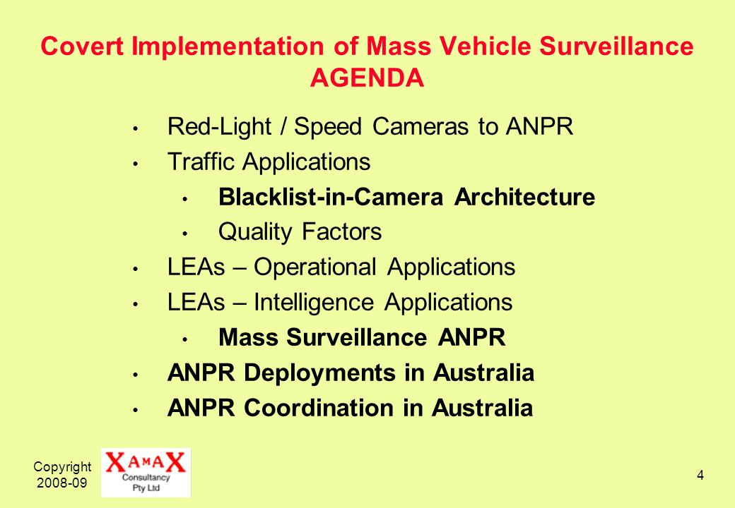 Copyright 2008-09 4 Covert Implementation of Mass Vehicle Surveillance AGENDA Red-Light / Speed Cameras to ANPR Traffic Applications Blacklist-in-Camera Architecture Quality Factors LEAs – Operational Applications LEAs – Intelligence Applications Mass Surveillance ANPR ANPR Deployments in Australia ANPR Coordination in Australia