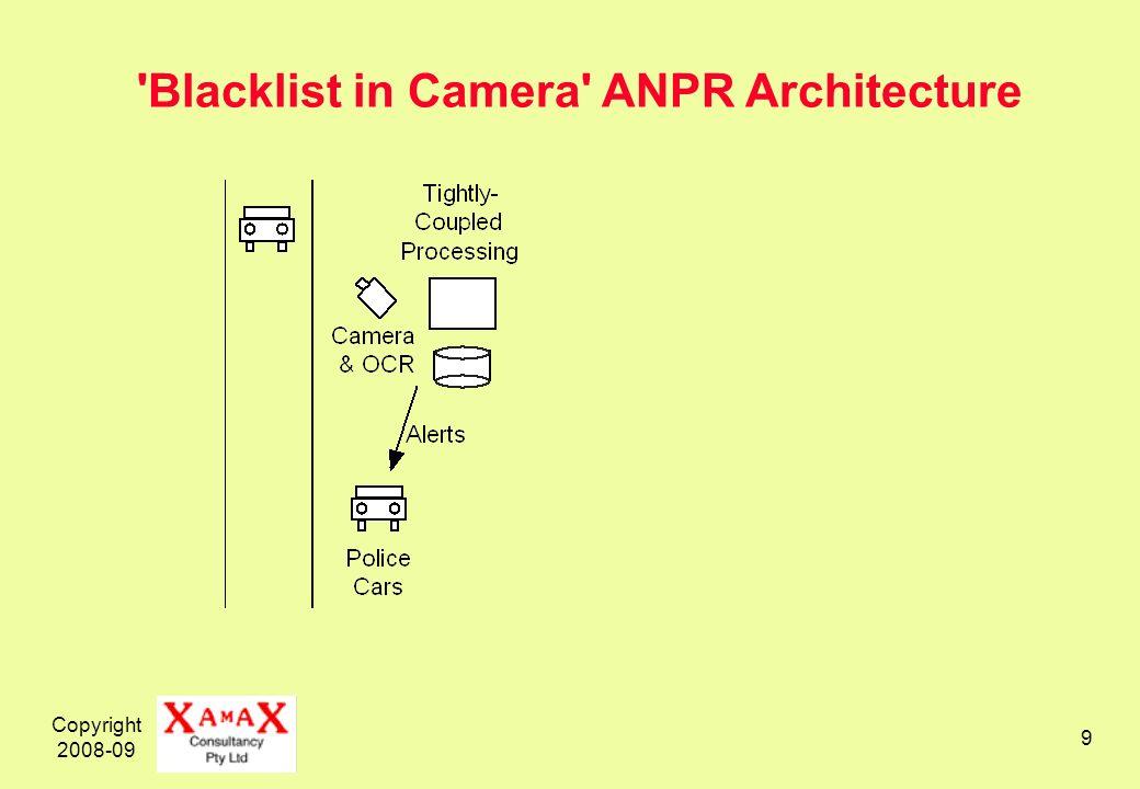 Copyright 2008-09 9 'Blacklist in Camera' ANPR Architecture