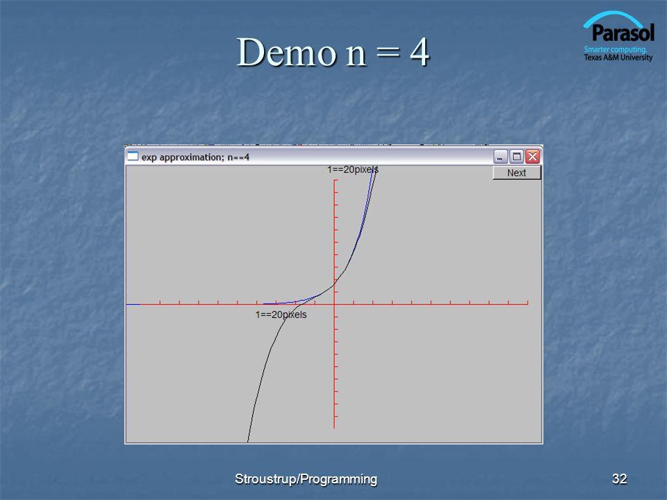 Demo n = 4 Stroustrup/Programming32