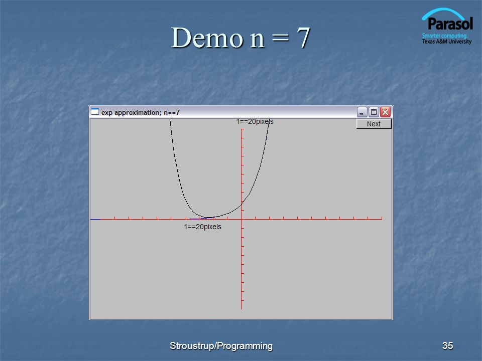 Demo n = 7 Stroustrup/Programming35