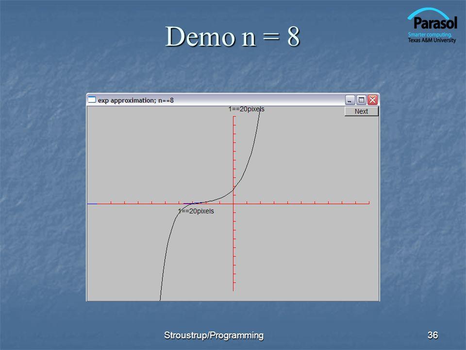 Demo n = 8 Stroustrup/Programming36