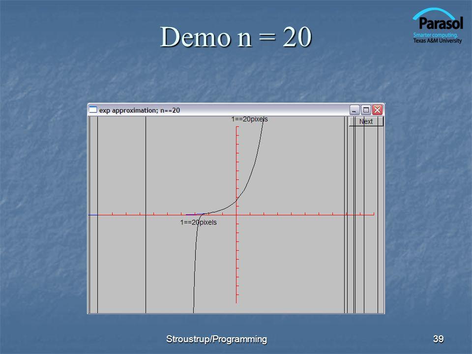 Demo n = 20 Stroustrup/Programming39