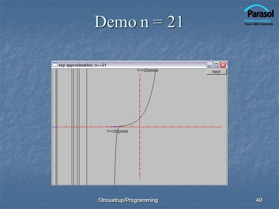 Demo n = 21 Stroustrup/Programming40