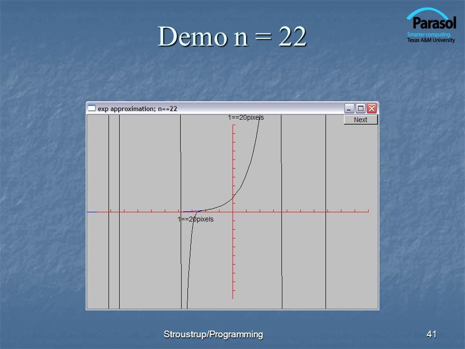 Demo n = 22 Stroustrup/Programming41