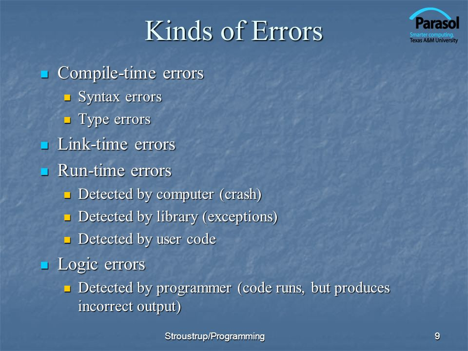 Kinds of Errors Compile-time errors Compile-time errors Syntax errors Syntax errors Type errors Type errors Link-time errors Link-time errors Run-time