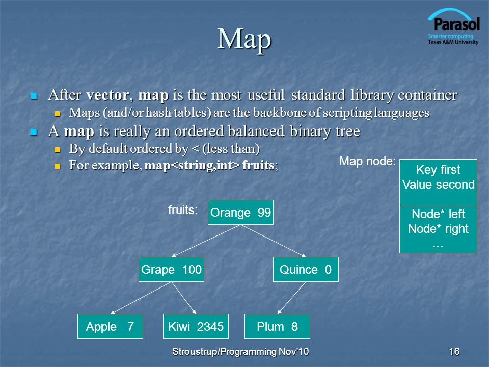 Map After vector, map is the most useful standard library container After vector, map is the most useful standard library container Maps (and/or hash tables) are the backbone of scripting languages Maps (and/or hash tables) are the backbone of scripting languages A map is really an ordered balanced binary tree A map is really an ordered balanced binary tree By default ordered by < (less than) By default ordered by < (less than) For example, map fruits; For example, map fruits; 16 Orange 99 Plum 8Kiwi 2345Apple 7 Quince 0Grape 100 fruits: Key first Value second Node* left Node* right … Map node: Stroustrup/Programming Nov 10