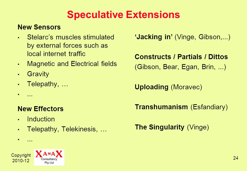 Copyright 2010-12 24 Speculative Extensions New Sensors Stelarcs muscles stimulated by external forces such as local internet traffic Magnetic and Electrical fields Gravity Telepathy, …...
