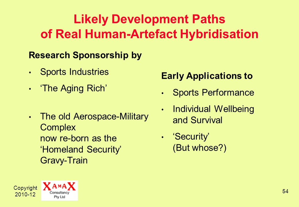Copyright 2010-12 54 Likely Development Paths of Real Human-Artefact Hybridisation Research Sponsorship by Sports Industries The Aging Rich The old Aerospace-Military Complex now re-born as the Homeland Security Gravy-Train Early Applications to Sports Performance Individual Wellbeing and Survival Security (But whose )