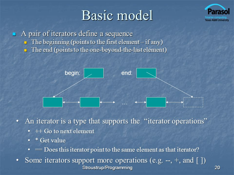 Basic model A pair of iterators define a sequence A pair of iterators define a sequence The beginning (points to the first element – if any) The begin
