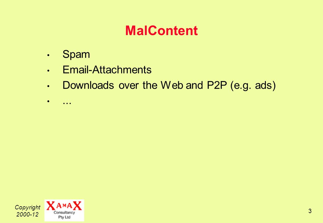 Copyright 2000-12 14 2.Categorisation of Malware Malware (1) uses a Vector (2) to deliver a Payload which performs (3) a function that is Invoked by some means......