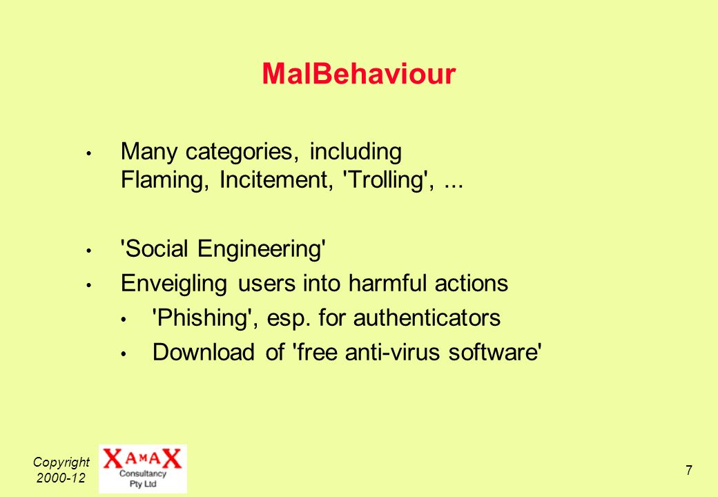Copyright 2000-12 48 Categories of Malware Definitions at the Back End of the Slide-Set Virus Worm Spyware Backdoor / Trapdoor Remote Admin Tool Rootkit Drive-by-Download Exploit Bug Social Engineering Phishing Incitement to Download