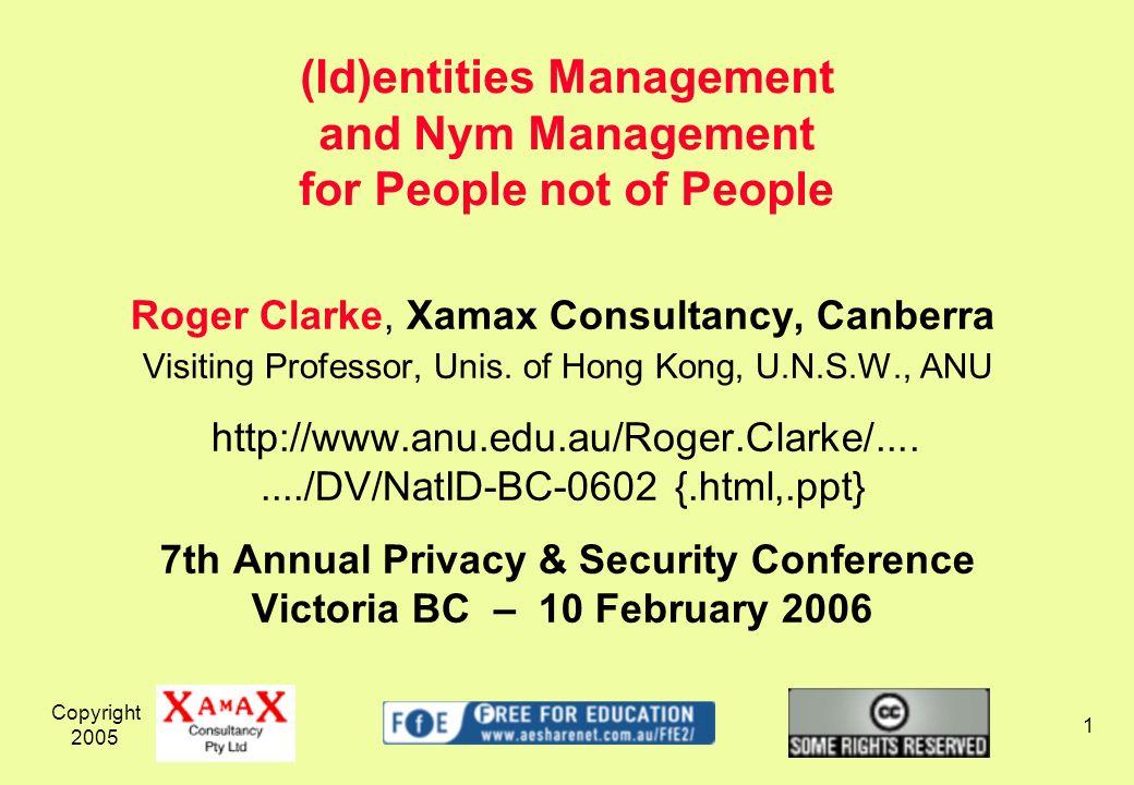 Copyright 2005 2 1.(Id)entities