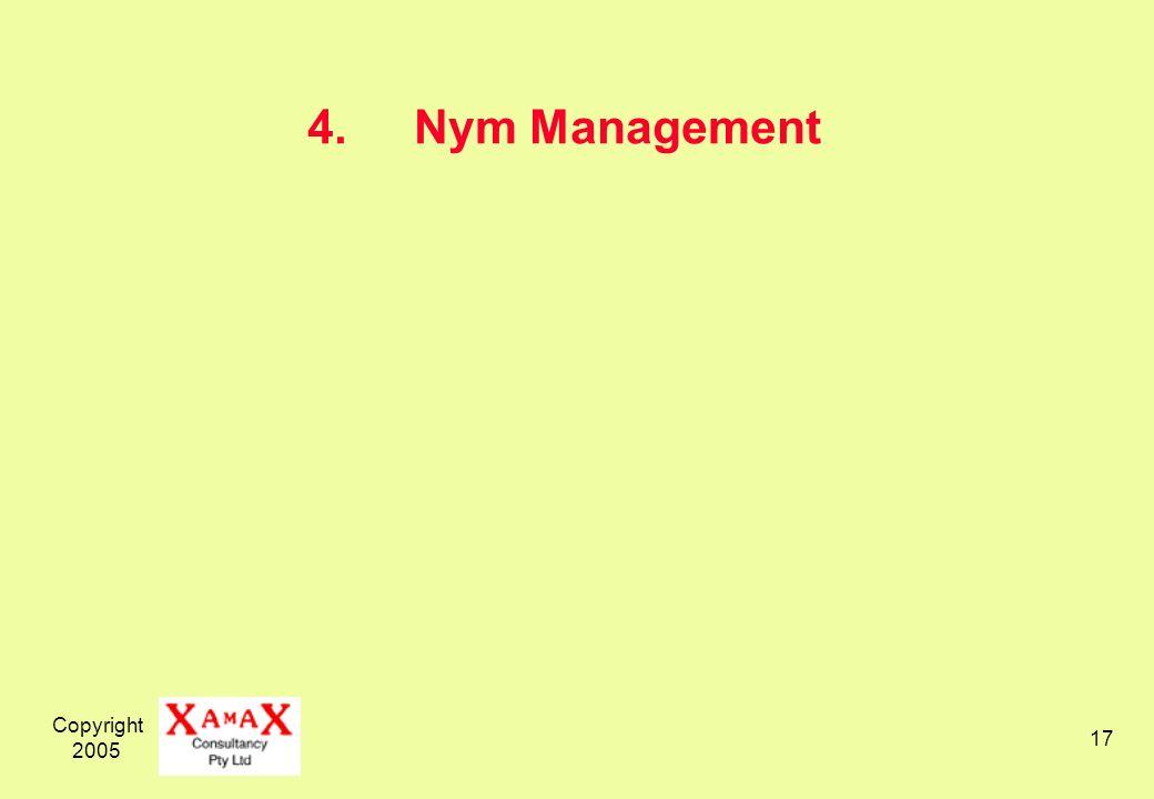 Copyright 2005 17 4.Nym Management