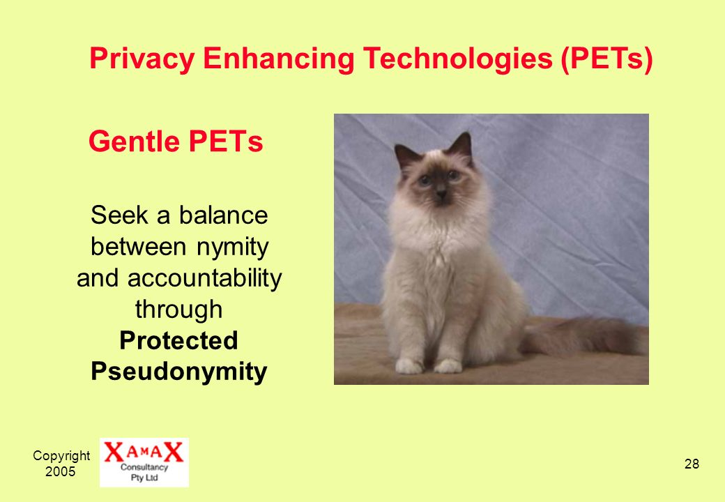 Copyright 2005 28 Gentle PETs Seek a balance between nymity and accountability through Protected Pseudonymity Privacy Enhancing Technologies (PETs)