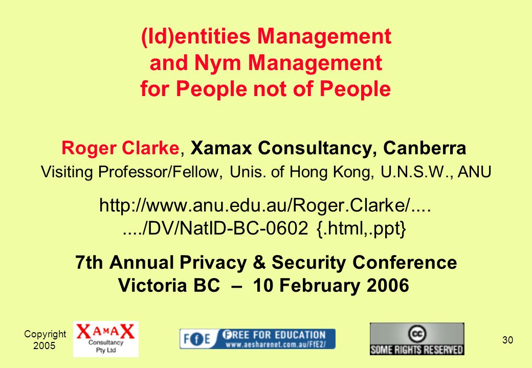 Copyright 2005 30 Roger Clarke, Xamax Consultancy, Canberra Visiting Professor/Fellow, Unis.
