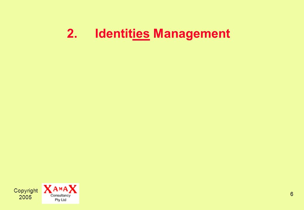 Copyright 2005 6 2.Identities Management