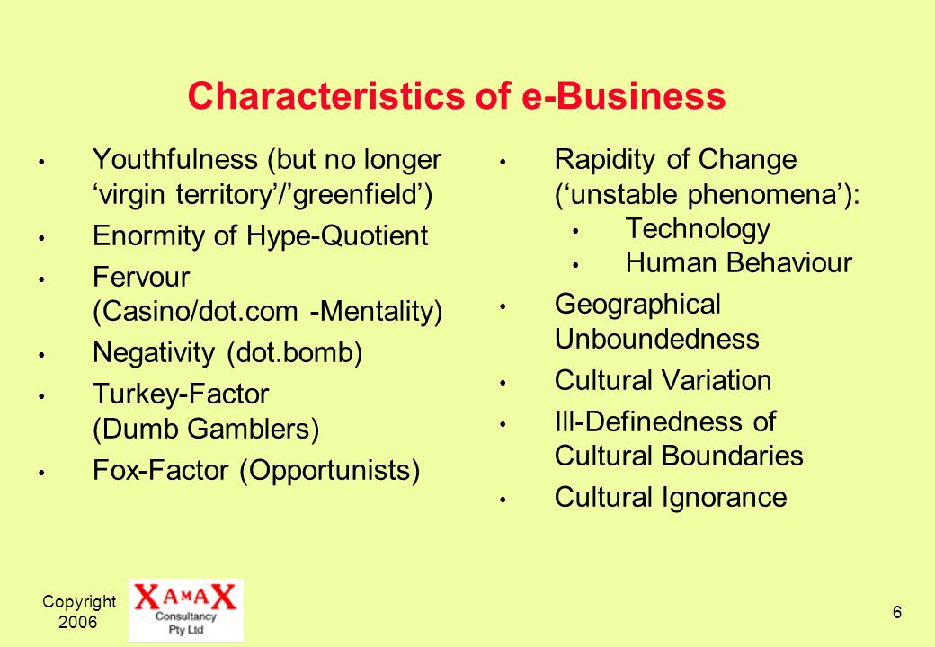 Copyright Characteristics of e-Business Youthfulness (but no longer virgin territory/greenfield) Enormity of Hype-Quotient Fervour (Casino/dot.com -Mentality) Negativity (dot.bomb) Turkey-Factor (Dumb Gamblers) Fox-Factor (Opportunists) Rapidity of Change (unstable phenomena): Technology Human Behaviour Geographical Unboundedness Cultural Variation Ill-Definedness of Cultural Boundaries Cultural Ignorance