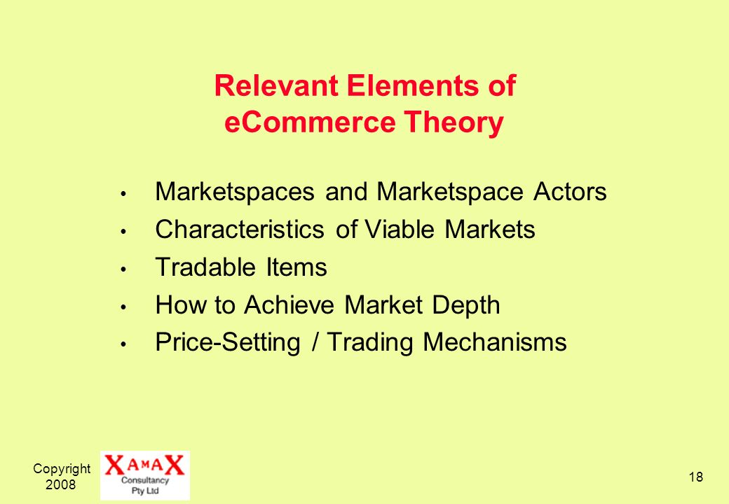 Copyright 2008 18 Relevant Elements of eCommerce Theory Marketspaces and Marketspace Actors Characteristics of Viable Markets Tradable Items How to Achieve Market Depth Price-Setting / Trading Mechanisms