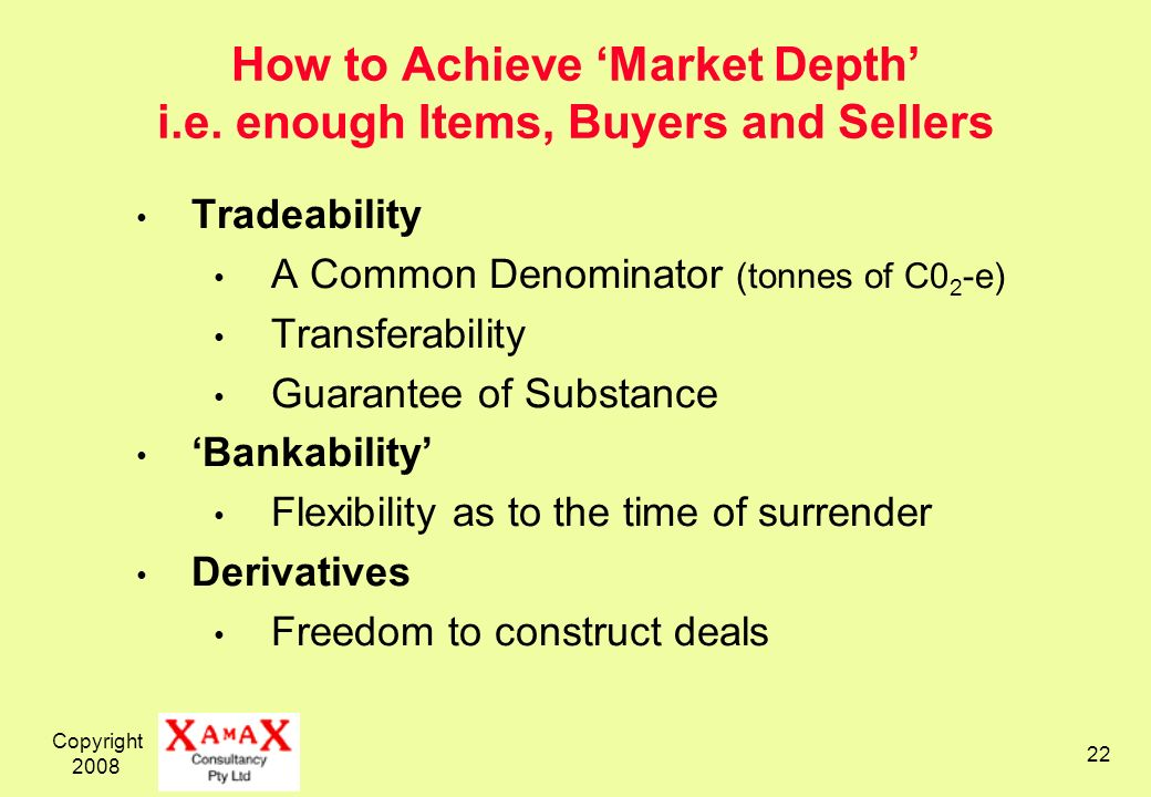 Copyright 2008 22 How to Achieve Market Depth i.e.