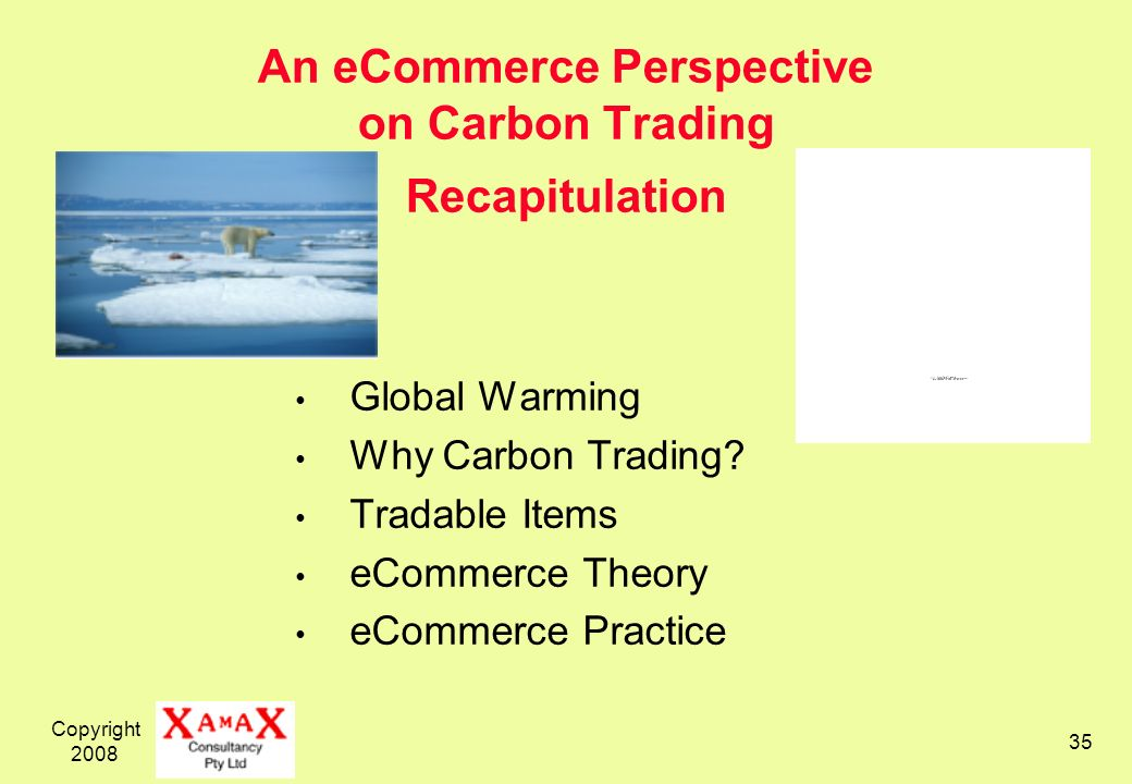 Copyright 2008 35 An eCommerce Perspective on Carbon Trading Recapitulation Global Warming Why Carbon Trading.