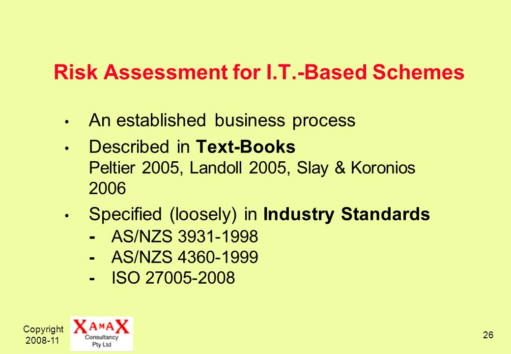 Copyright 2008-11 26 Risk Assessment for I.T.-Based Schemes An established business process Described in Text-Books Peltier 2005, Landoll 2005, Slay &