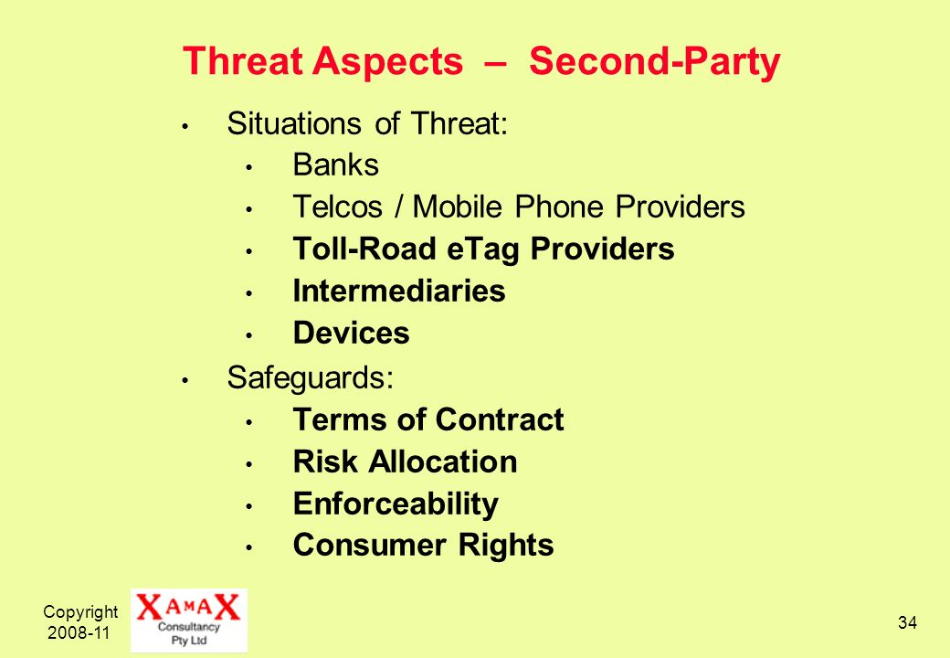 Copyright 2008-11 34 Threat Aspects – Second-Party Situations of Threat: Banks Telcos / Mobile Phone Providers Toll-Road eTag Providers Intermediaries