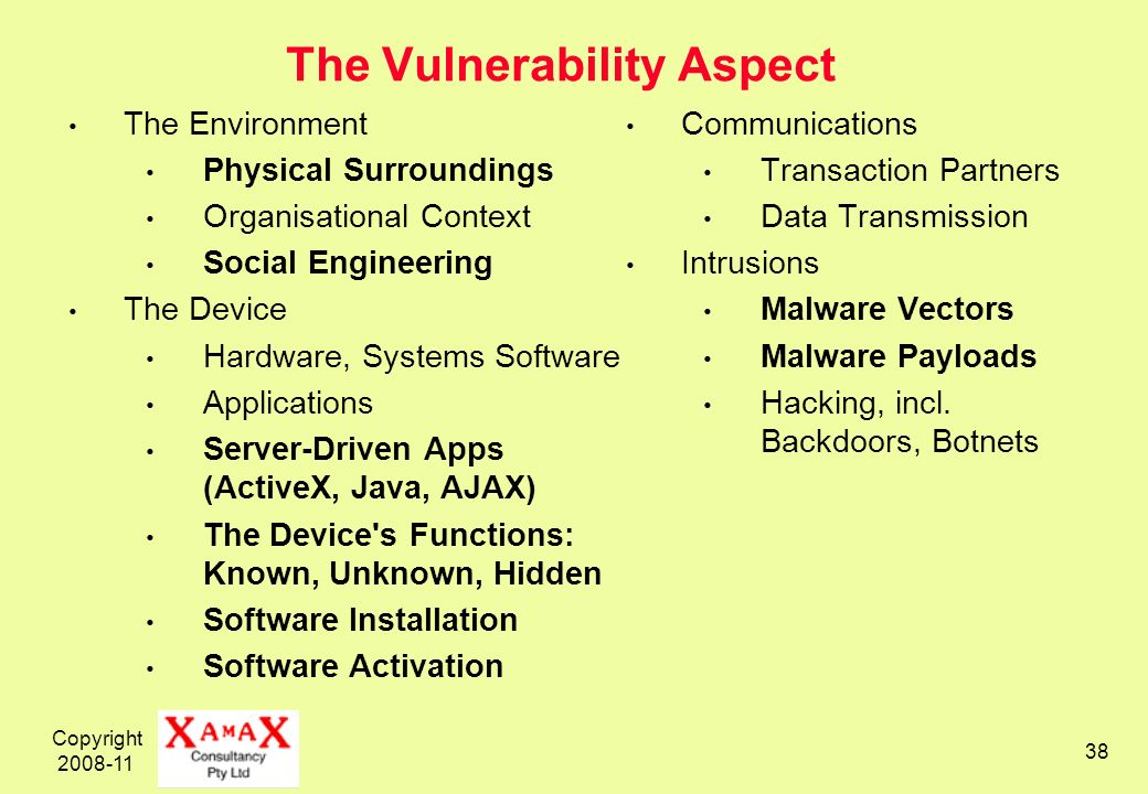 Copyright 2008-11 38 The Vulnerability Aspect The Environment Physical Surroundings Organisational Context Social Engineering The Device Hardware, Sys