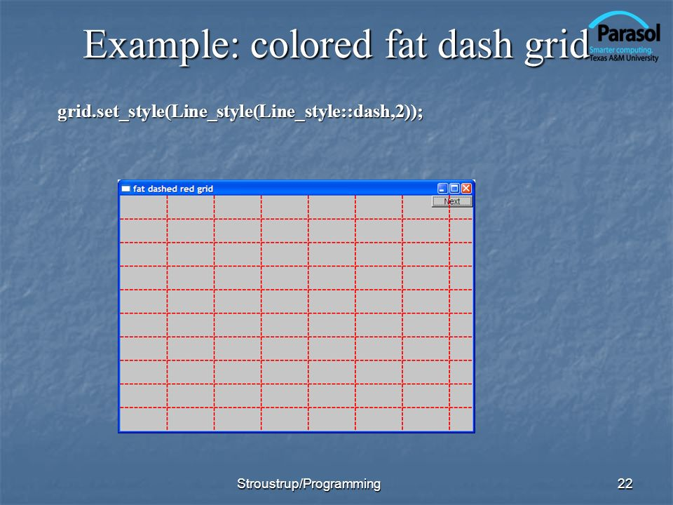 Example: colored fat dash grid grid.set_style(Line_style(Line_style::dash,2)); 22Stroustrup/Programming