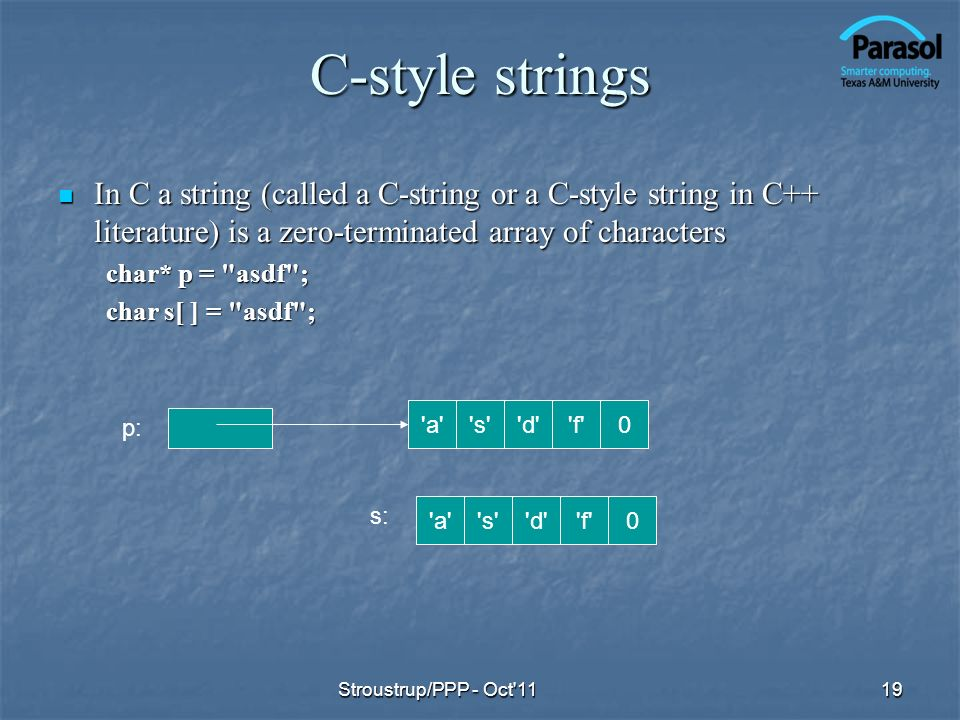 C-style strings In C a string (called a C-string or a C-style string in C++ literature) is a zero-terminated array of characters In C a string (called