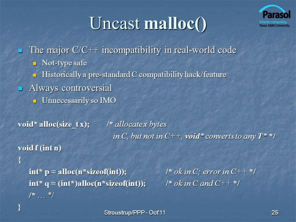 Uncast malloc() The major C/C++ incompatibility in real-world code The major C/C++ incompatibility in real-world code Not-type safe Not-type safe Hist