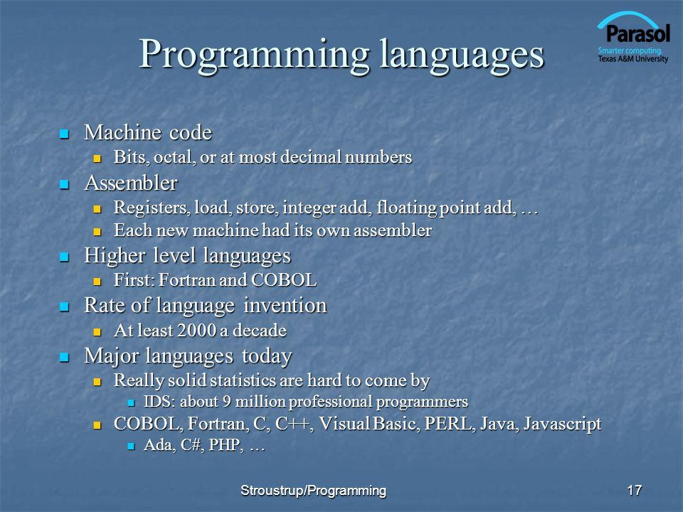 Programming languages Machine code Machine code Bits, octal, or at most decimal numbers Bits, octal, or at most decimal numbers Assembler Assembler Re