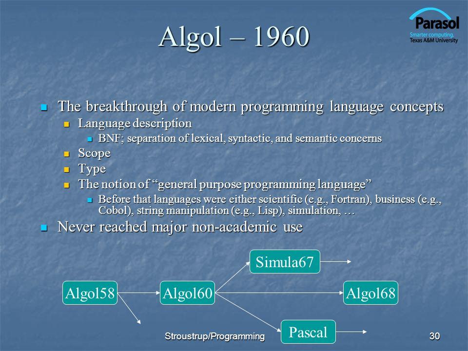 Algol – 1960 The breakthrough of modern programming language concepts The breakthrough of modern programming language concepts Language description La