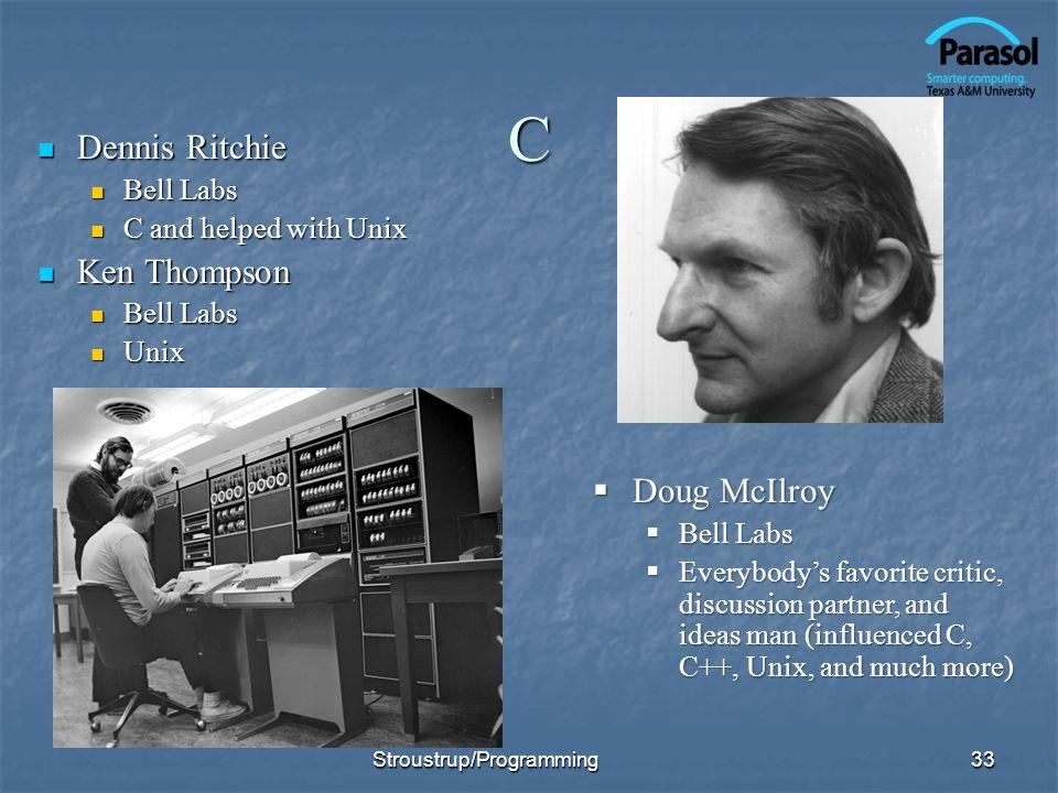 C Dennis Ritchie Dennis Ritchie Bell Labs Bell Labs C and helped with Unix C and helped with Unix Ken Thompson Ken Thompson Bell Labs Bell Labs Unix U
