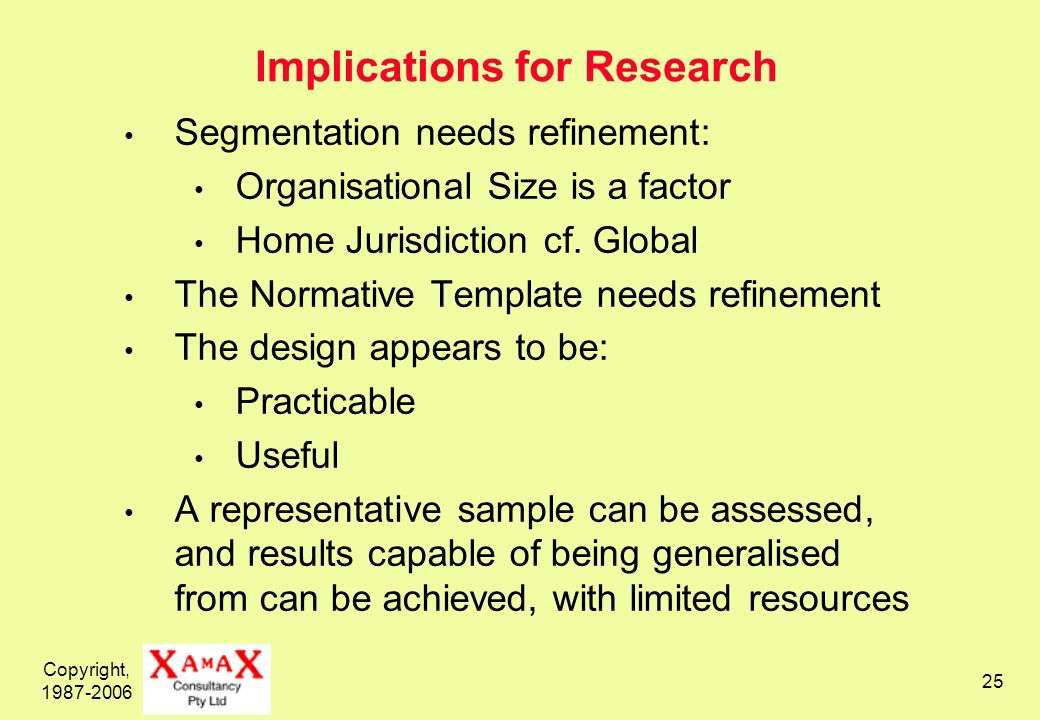 Copyright, 1987-2006 25 Implications for Research Segmentation needs refinement: Organisational Size is a factor Home Jurisdiction cf. Global The Norm
