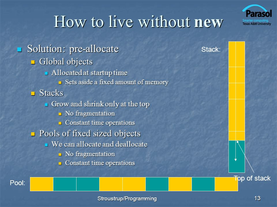 How to live without new Solution: pre-allocate Solution: pre-allocate Global objects Global objects Allocated at startup time Allocated at startup tim