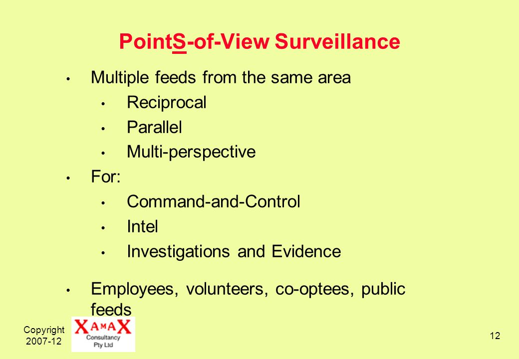 Copyright 2007-12 12 PointS-of-View Surveillance Multiple feeds from the same area Reciprocal Parallel Multi-perspective For: Command-and-Control Intel Investigations and Evidence Employees, volunteers, co-optees, public feeds