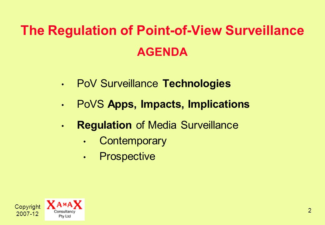 Copyright 2007-12 13 The Regulation of Point-of-View Surveillance AGENDA PoV Surveillance Technologies PoVS Apps, Impacts, Implications Regulation of Media Surveillance Contemporary Prospective