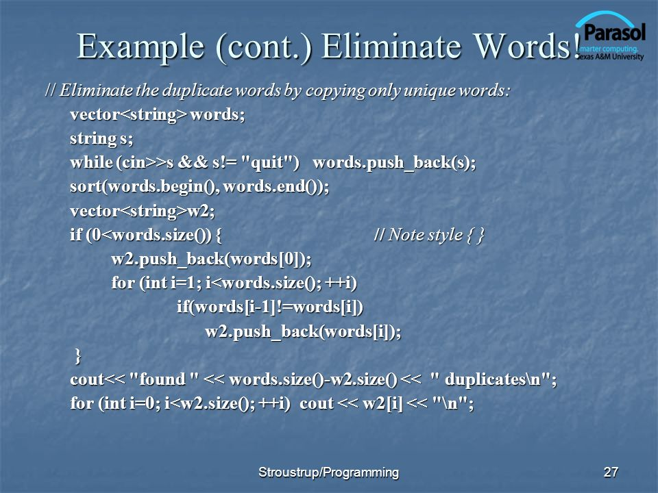 27 Example (cont.) Eliminate Words.