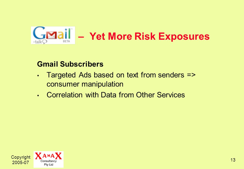 Copyright – Yet More Risk Exposures Gmail Subscribers Targeted Ads based on text from senders => consumer manipulation Correlation with Data from Other Services
