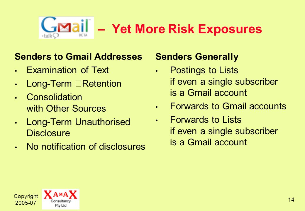 Copyright – Yet More Risk Exposures Senders to Gmail Addresses Examination of Text Long-Term Retention Consolidation with Other Sources Long-Term Unauthorised Disclosure No notification of disclosures Senders Generally Postings to Lists if even a single subscriber is a Gmail account Forwards to Gmail accounts Forwards to Lists if even a single subscriber is a Gmail account