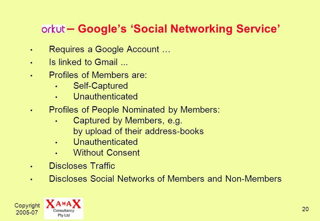 Copyright – Googles Social Networking Service Requires a Google Account … Is linked to Gmail...
