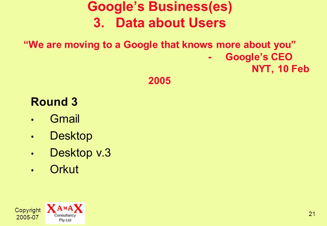 Copyright 2005-07 21 Googles Business(es) 3. Data about Users We are moving to a Google that knows more about you - Googles CEO NYT, 10 Feb 2005 Round