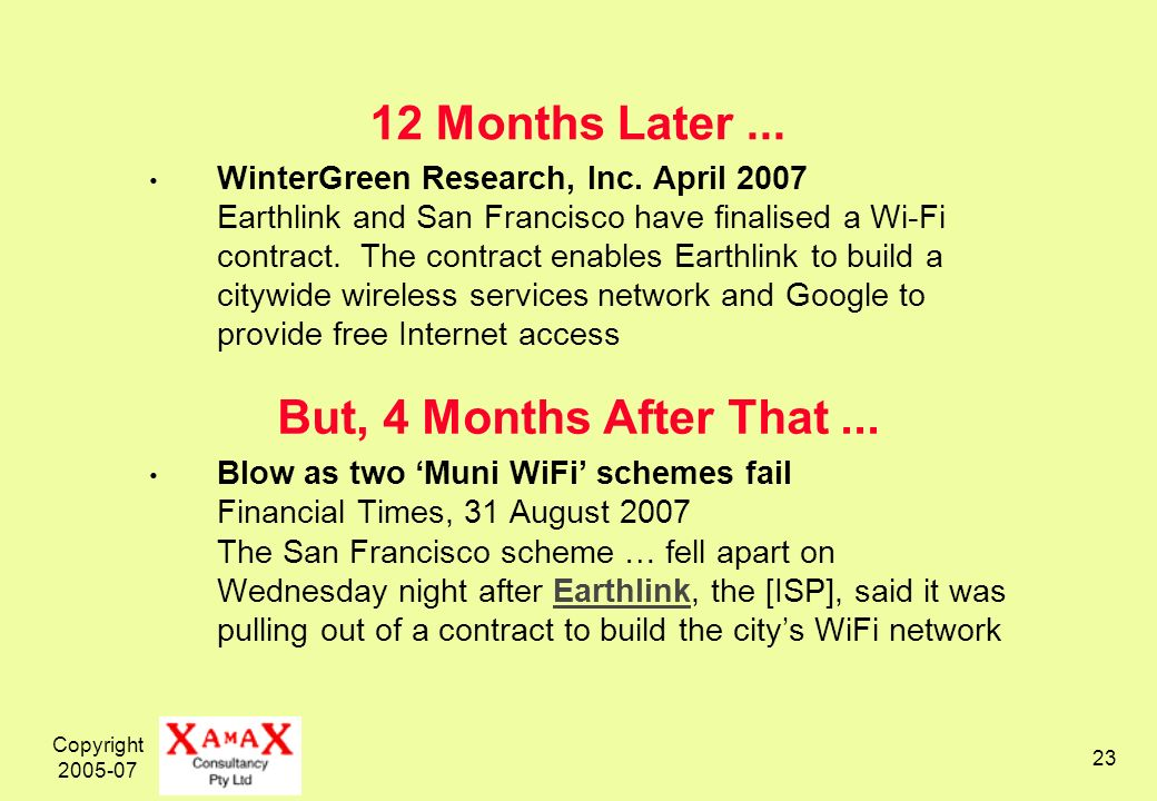 Copyright Months Later... WinterGreen Research, Inc.