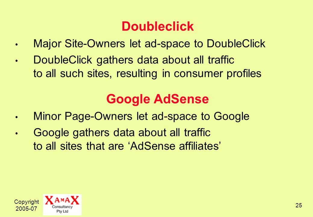 Copyright Doubleclick Major Site-Owners let ad-space to DoubleClick DoubleClick gathers data about all traffic to all such sites, resulting in consumer profiles Google AdSense Minor Page-Owners let ad-space to Google Google gathers data about all traffic to all sites that are AdSense affiliates